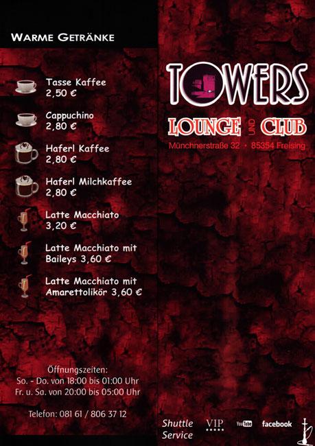 Towers Club & Lounge Shisha-Karte Seite außen